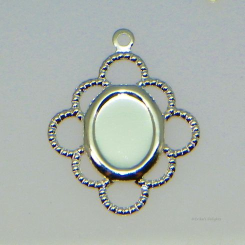 8x6 Oval Silver Plated Filigree Design Cabochon (Cab) Drop Setting