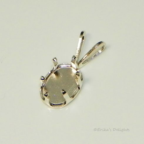 8x6 oval snap tite sterling silver pendant setting 6prong