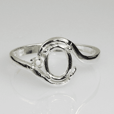 8x6 Oval Solitaire Single Accent Sterling Silver Ring Setting