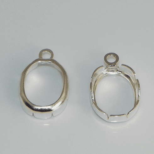 8x6 Oval Sterling Silver High Wall Backset Drop 1pc