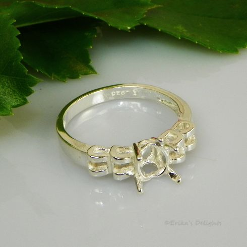 8x6 Oval Trellis Sterling Silver Ring Setting