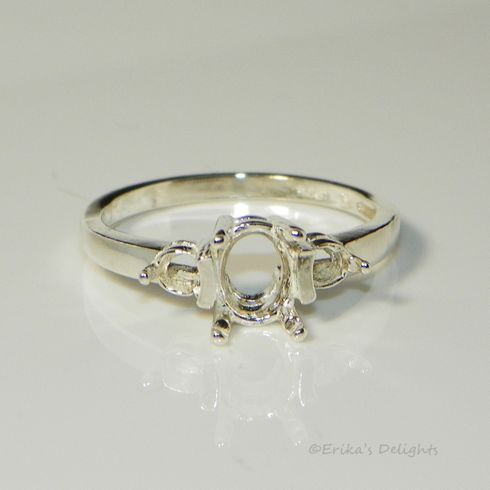 8x6 Oval with 3.5mm Accent Sterling Silver Pre-Notched Ring Setting