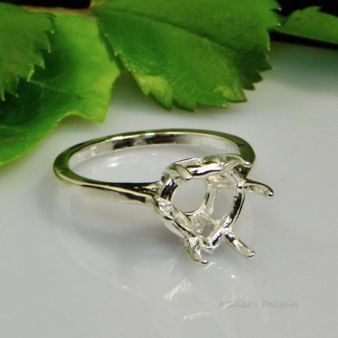 9mm Deep Heart Pre-notched Sterling Silver Ring Setting