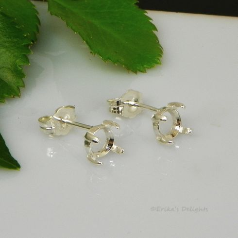 9mm Round Cabochon (Cab) Sterling Silver Earring Settings