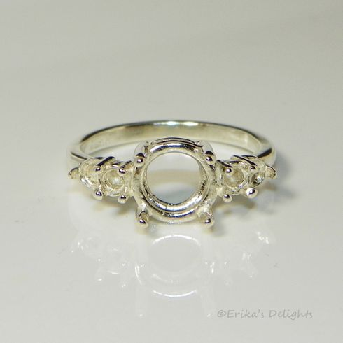 9mm Round Double Accented Sterling Silver Pre-Notched Ring Setting