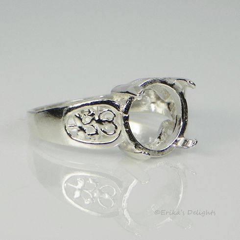 9mm Round Filigree Sterling Silver Pre-Notched Ring Setting