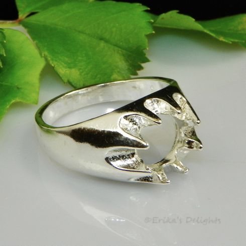 9mm Round Men's Gypsy Sterling Silver Ring Setting