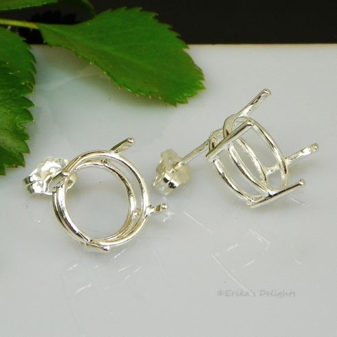 9mm Round Pre-notched Basket Sterling Silver Earring Settings