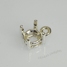 9mm Round Pre-notched Dangle Sterling Silver Setting