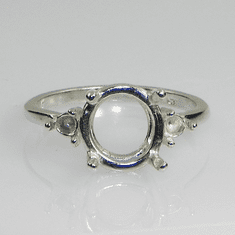 9mm Round Side Accented (3mm) Sterling Silver Ring Setting