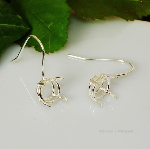 9mm Round Sterling Silver Pre-Notched Earwire Earring Settings