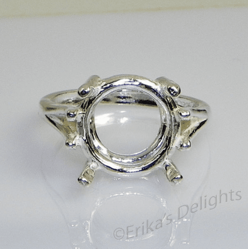 9mm Round Wire Mount Sterling Silver Ring Setting