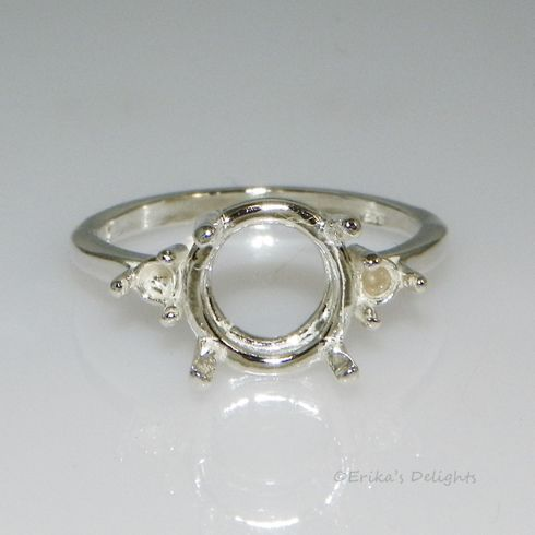 9mm Round with (2) 3mm Accents Sterling Silver Ring Setting