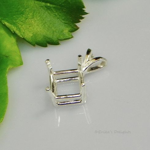 9mm Square Pre-Notched Sterling Silver Pendant Setting