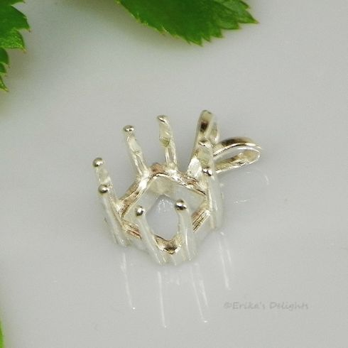 9mm Square Pre-Notched Sterling Silver Pendant Setting 8 prong