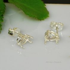 9x6 Pear Pre-Notched Basket Sterling Silver Earring Settings