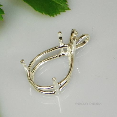 9x6 Pear Pre-notched Sterling Silver Pendant Setting
