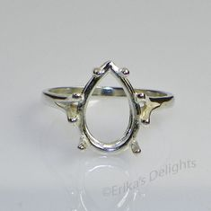 9x6 Pear Solitaire Sterling Silver Ring Setting