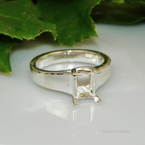 9x7 Emerald Comfort Fit Solitaire Sterling Silver Ring Setting