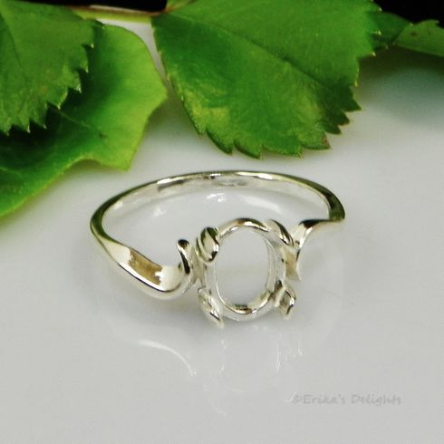 9x7 Oval Cabochon Swirl Sterling Silver Ring Setting