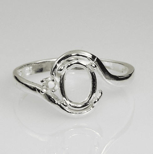 9x7 Oval Solitaire Single Accent Sterling Silver Ring Setting