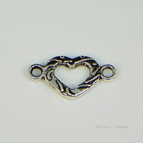 Antiqued Silver Tone Heart Component Link