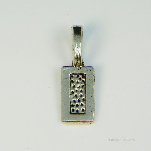 Antiqued Silver Tone Rectangular Glue on Bail