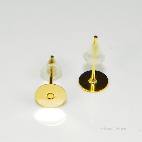 Gold Plated 6mm Flat Pad Earstud with Backs (1 Pair)