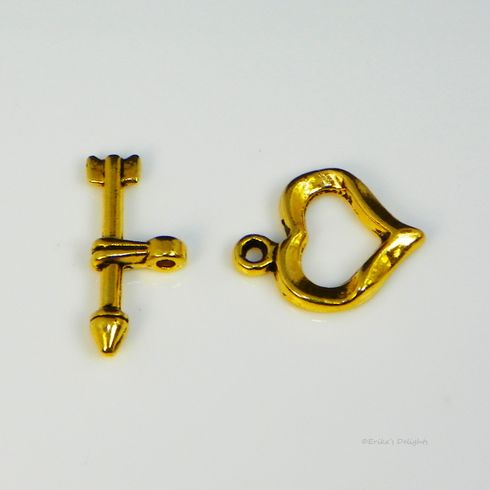 Gold Plated Cupid Arrow Heart Toggle Clasp (1 Set)