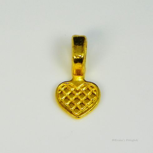 Gold Plated Heart Glue on Bail
