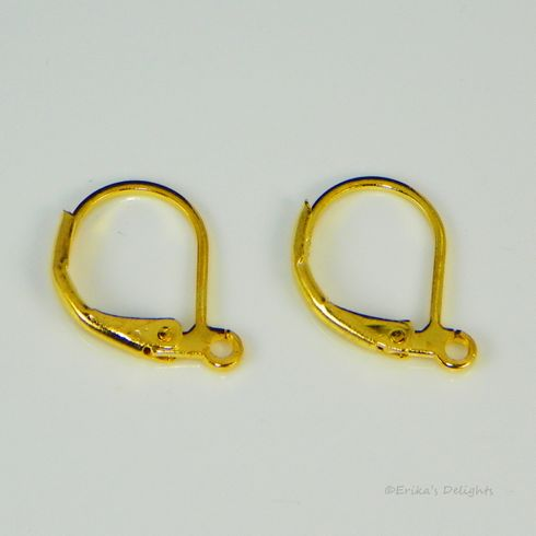 Gold Plated Leverbacks 16x10mm (1 Pair)