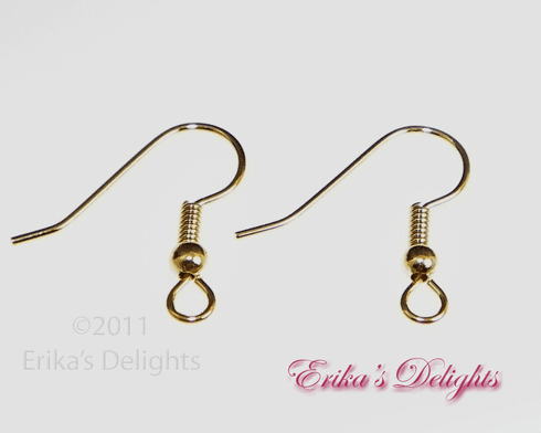 Gold Plated Surgical Steel Ball & Coil Earwires 1pr