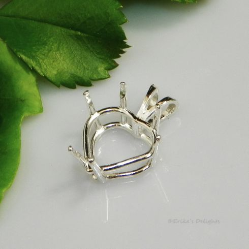 Sterling Silver Heart Pre-Notched Pendant Settings