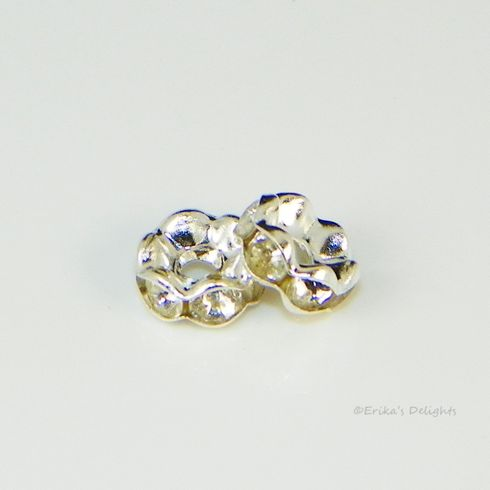 Silver Plated Clear Rhinestone Flower Spacers Beads 6mm