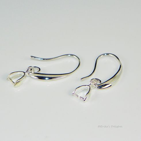 Silver Plated Earwires with Small Pinch Bail 28mm (1 Pair)