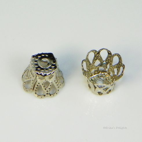 Silver Tone Flower Bell Bead Caps 9x7mm