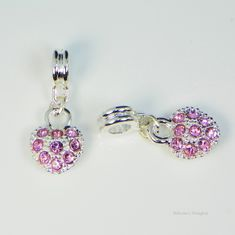 Silver Plated Heart Pink European Charm