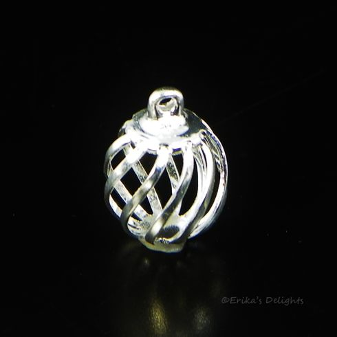 Silver Plated Hollow Filigree Bead Cage Drop