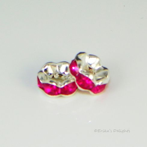 Silver Plated Hot Pink Rhinestone Flower Spacers Beads 8mm