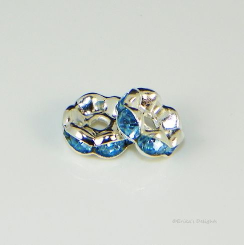 Silver Plated Light Blue Rhinestone Flower Spacers Beads 8mm