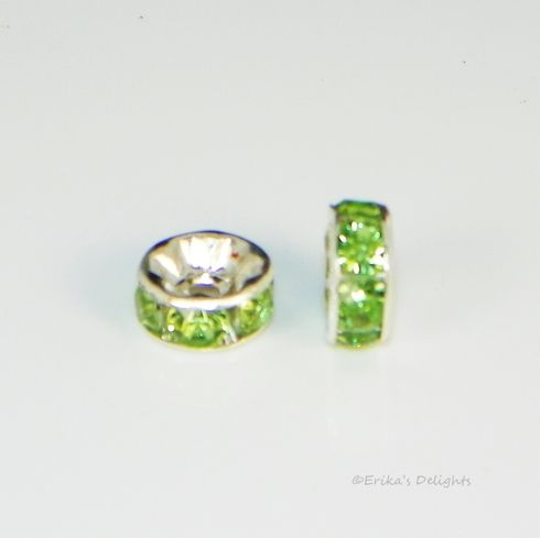 Silver Plated Light Green Rhinestone Rondelle Spacers Beads 8mm