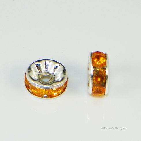 Silver Plated Orange Rhinestone Rondelle Spacers Beads 8mm