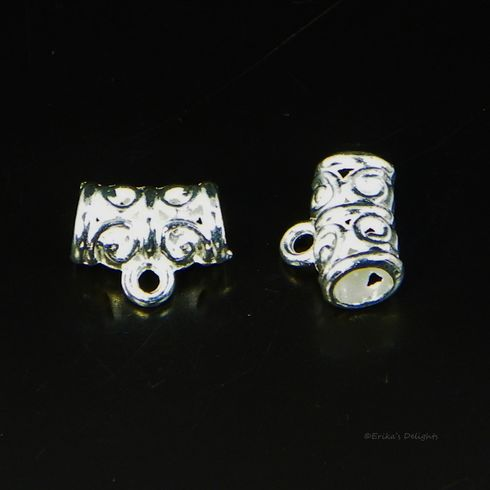 Silver Plated Pattern Tube Bail Bead