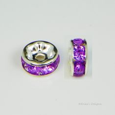 Silver Plated Purple Rhinestone Rondelle Spacers Beads 8mm
