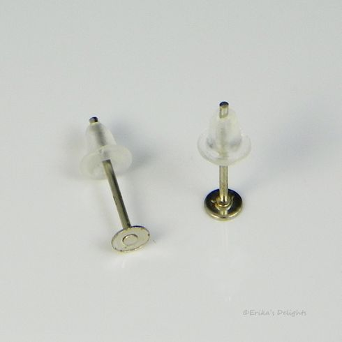 Silver Tone 3mm Flat Pad Earstud with Backs (1 Pair)