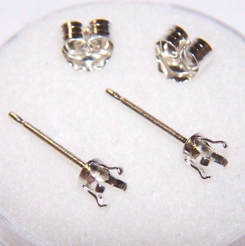 SS 3mm round snap tite earring settings