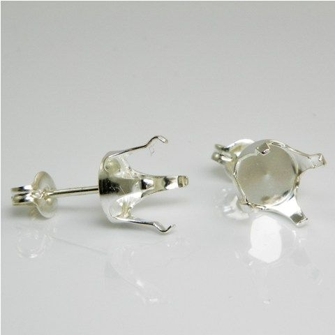 SS 4mm round snap tite earring settings