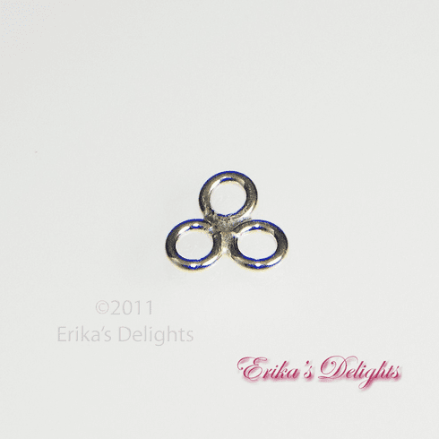 Sterling Silver 3 Ring Trillion Cluster Link Findings 1pc