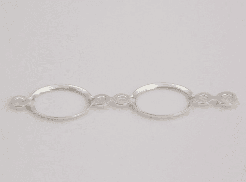 Sterling Silver 6x4 Oval 2 Ring Fold Over Bezel Drop