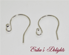 Sterling Silver Earwires with 2mm Ball  1pr